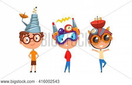 Boys In Steampunk Headgear Set, Scientist Children Working On Science Experiments Vector Illustratio