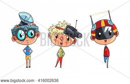 Cute Boys In Steampunk Headgear Set, Scientist Children Doing Experiments Vector Illustration
