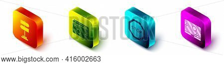 Set Isometric Road Traffic Sign, Infographic Of City Map Navigation, Stop Sign And City Map Navigati