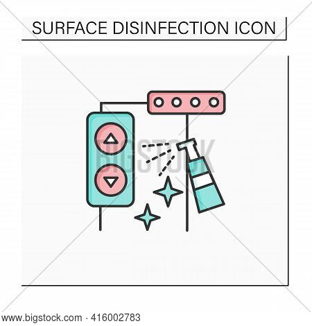 Elevator Disinfecting Line Icon. Public Places Sanitizing. Surface Disinfection. Safety Space And Pr