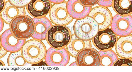 Seamless Pattern Donut With Icing Sprinkled With Grains. Realistic Colorful Donut. Design For Holida