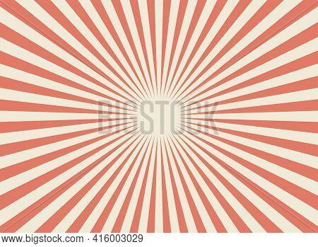 Sunlight Retro Wide Horizontal Background. Pale Red, Beige Color Burst Background. Fantasy Vector Il