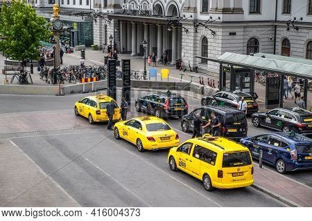 Stockholm, Sweden June 7 2019: Yellow Taxi Cabs Waiting In Front Of Central Railway Station, Stockho