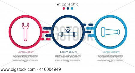 Set Line Wrench Spanner, Industry Pipe And Manometer And Industry Metallic Pipe. Business Infographi