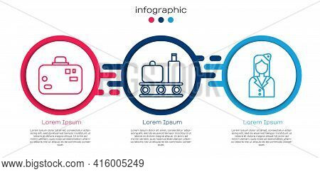 Set Line Suitcase, Airport Conveyor Belt With Suitcase And Stewardess. Business Infographic Template