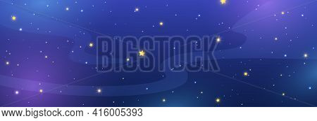 Night Sky Background With Shiny Stars. Blue Galaxy Long Banner. Cosmos Backdrop. Space Texture. Magi