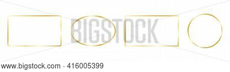 Gold Frames Set On White Background. Glow Golden Rectangle, Square, Circle Border Collection. Luxury