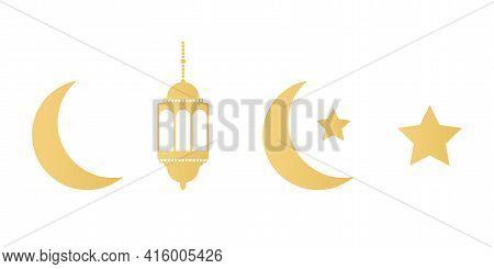 Ramadan Gold Icons Set On White Background. Golden Lanterns, Crescent And Stars. Ramadan Kareem Gree