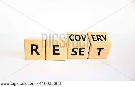 Recovery And Reset Symbol. Turned Cubes And Changed The Word 'recovery' To 'reset'. Beautiful White