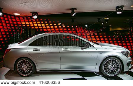 France, Paris, May, 2014 - Exhibition And Sale Of New Cars In The Official Dealer Center Mercedes-be