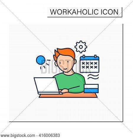 Workaholic Color Icon.work Through Vocation, Overtime. Work Despite Calendar Days Off. Man At Laptop