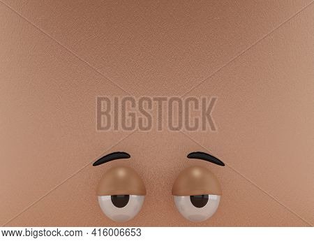 3d Rendering Of Unique Eyes, Lazy Emotion And Brown Paper Colors Background . Perfect For Background