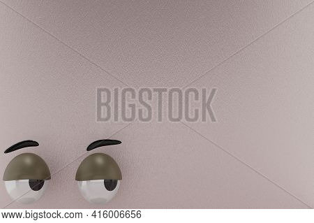 3d Rendering Of Unique Eyes, Lazy, Staring Right And Grey Paper Colors Background . Perfect For Back