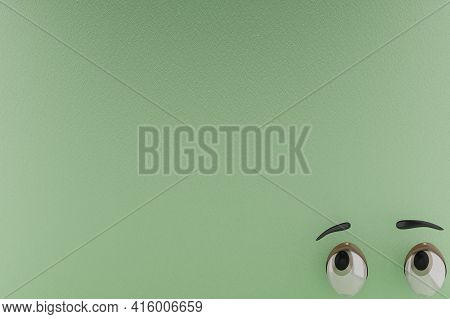 3d Rendering Of Unique Eyes, Calm Gaze And Green Paper Colors Background . Perfect For Background, U