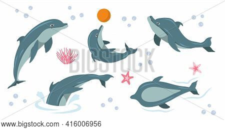 Cute Dolphin Set. Happy Cute Dolphin Character Performing Tricks In Water, Jumping, Holding Ball, Ca