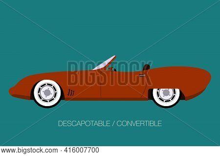 Retro Cabriolet Car,convertible, Spider Vector Car, Flat Design, Fully Editable