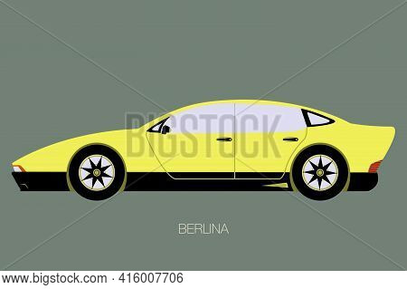 Retro Future Berlina, Side View Of Car, Automobile, Motor Vehicle, Flat Design, Fully Editable