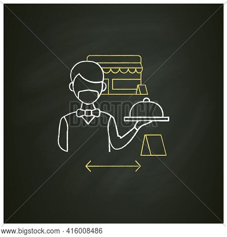 Worker Uniform Chalk Icon.restaurant Worker In Face Mask And Gloves.additional Protection. New Norma