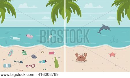 Dirty And Clean Beach Set. Environmental Pollution Concept. Environmental Disaster. Colorful Vector