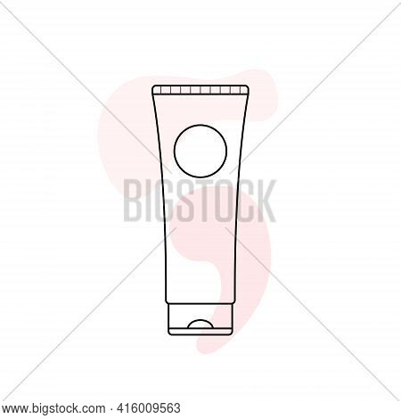 Tube Of Cream. Concealer. Hand, Face And Body Cream. Skin Care. Cosmetic. Vector Black Outline On A