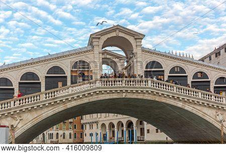 Venice, Italy - January 9, 2017: Top Of Rialto Bridge Tourist Atrraction At Winter In Venice, Italy.
