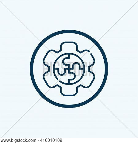 Gear Icon Isolated On White Background From Multimedia Collection. Gear Icon Thin Line Outline Linea