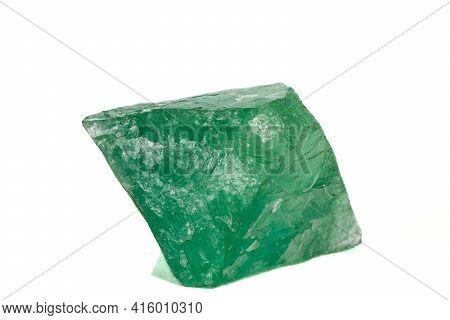 Macro Stone Green Fluorite Mineral On White Background