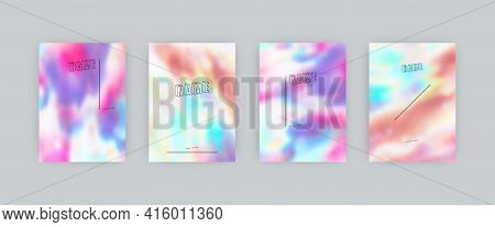 Set Of Vector Cover Templates. Bright And Light Colors Splash Hand Painted Psychedelic Tie Dye Blurr