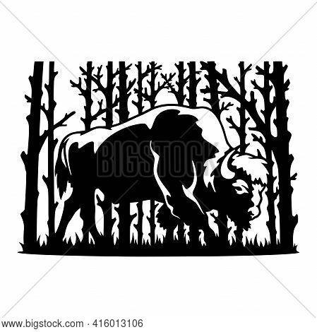 Bison Wildlife Stencils - Forest Landscape, Wildlife Clipart, Cut File, Iron On, Vector, Vinyl Shirt