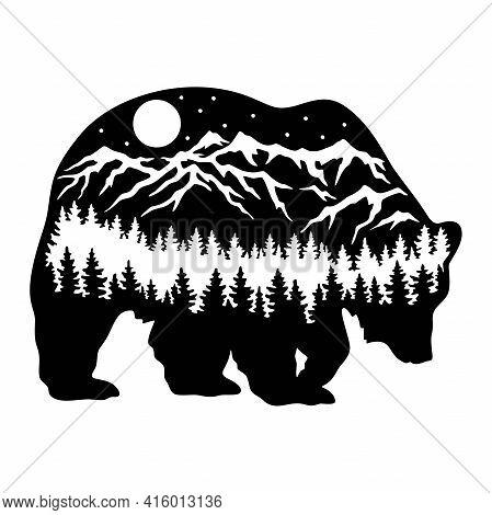 Bear Wildlife Stencils - Forest Landscape, Wildlife Clipart, Cut File, Iron On, Vector, Vinyl Shirt