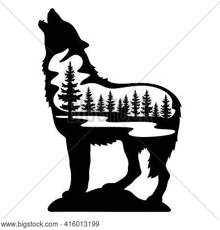 Wolf Wildlife Stencils - Forest Landscape, Wildlife Clipart, Cut File, Iron On, Vector, Vinyl Shirt