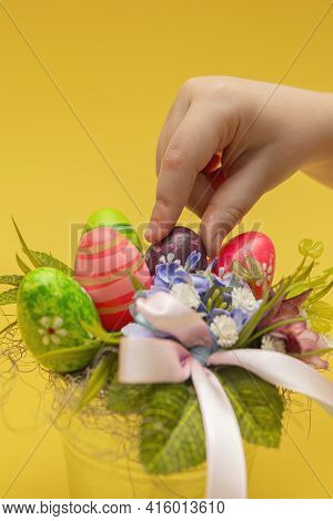 Easter Bouquet, Postcard For Printing, Gift Bouquet In A Bucket For Easter. Children's Hand Makes A