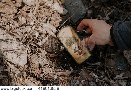 Ukraine. Yellow Geiger Counter In The Chernobyl Exclusion Zone. Radiation Indicators In The Exclusio