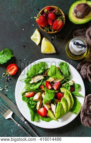 Healthy Food, Diet Lunch Menu Concept, Ketogenic Diet And Paleodiet. Summer Salad With Strawberries,