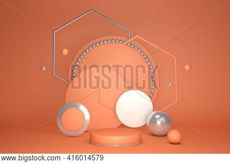 Minimal Orange Scene With Podium Isolated On Bright Background. Geometric Shapes. Minimal 3d Renderi