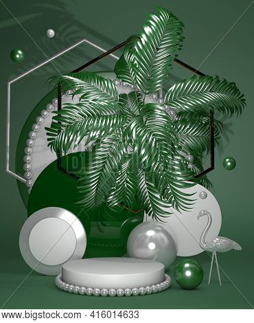Cylinder Bright Green Abstract Minimal Stand With Geometric Platform And Silver Flamingo. Summer Sty