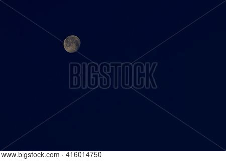 Full Moon Over Canyon, Texas In The Texas Panhandle.