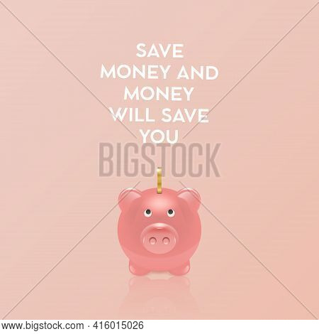 Save Money Concept. Vector Realistic 3d Pink Retro Piggy Bank With Golden Shiny Coin On Pink Backgro