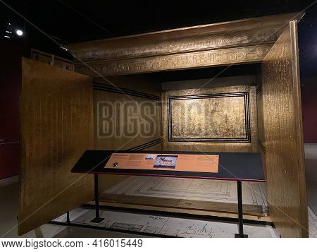 Exhibition Of Tutankhamun In Zurich During Pandemic Time. View Into Outer Golden Shrine Containing T