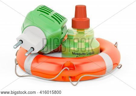 Fumigator With Lifebelt. Protect From Insects Concept, 3d Rendering Isolated On White Background