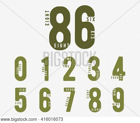 Number 0 1 2 3 4 5 6 7 8 9. Incomplete Digital Design Set. Vector Illustration