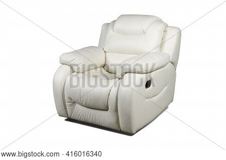 Comfortable White Leather Recliner Armchair Isolated On White Background