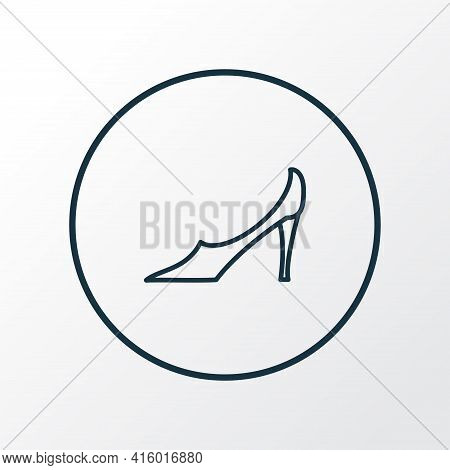 Pump Shoes Icon Line Symbol. Premium Quality Isolated Stiletto Element In Trendy Style.