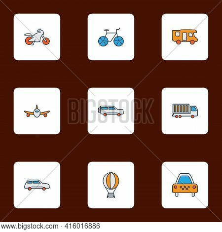Vehicle Icons Colored Line Set With Campervan, Truck, Taxi And Other Van Elements. Isolated Vector I