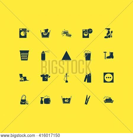 Textile Icons Set With Furniture Cleaning, Torn T-shirt, Clothes Peg And Other Bucket Elements. Isol