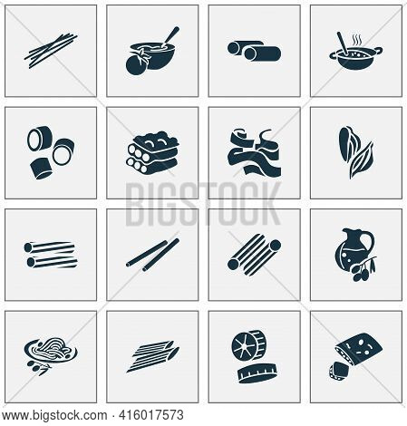 Traditional Meal Icons Set With Focaccia, Bucatini Pasta, Pappardelle Pasta And Other Pippe Doppia E