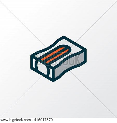 Pencil Sharpener Icon Colored Line Symbol. Premium Quality Isolated Sharpen Element In Trendy Style.