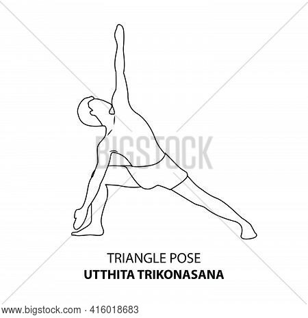 Man Practicing Yoga Pose Isolated Outline Illustration. Man Standing In Triangle Pose Or Utthita Tri