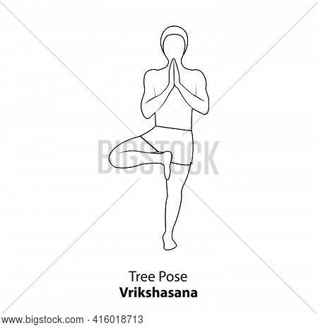 Man Practicing Yoga Pose Isolated Outline Illustration. Man Standing In  Tree Pose Or Vrikshasana Po