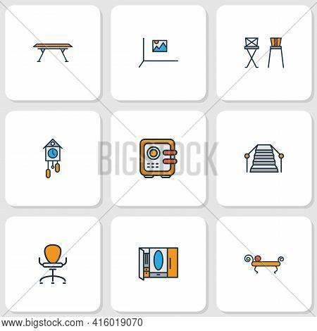 Home Decoration Icons Colored Line Set With Barstool, Stairs, Ergonomic Armchair And Other Closet El